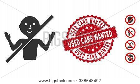 Vector no guru icon and distressed round stamp seal with Used Cars Wanted phrase. Flat no guru icon is isolated on a white background. Used Cars Wanted stamp seal uses red color and grunged surface. stock photo