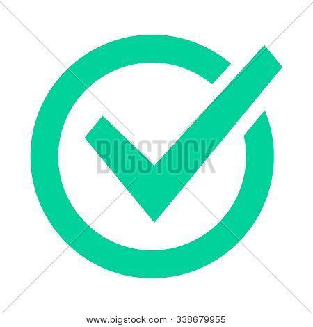 Check mark sign. Checklist green marking logo, check web pictogram, positive checked confirm and accept okey mark. Circle confirmation success sign vector icon. Approval. Tick symbol. Correct choice stock photo