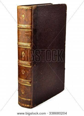 Isolated White Background, Antique Book Side View. stock photo