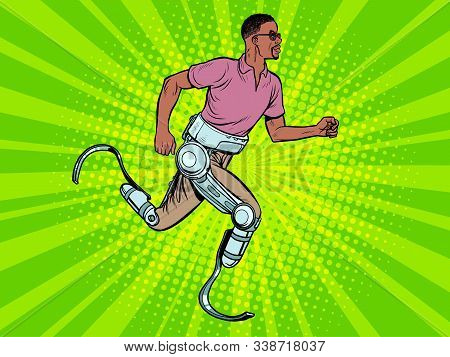disabled african man running with legs prostheses. Pop art retro vector illustration vintage kitsch 60s 50s stock photo