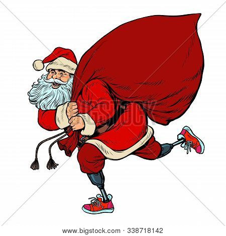 Santa Claus disabled on prostheses delivers gifts for Christmas. pop art retro vector illustration kitsch vintage drawing 50s 60s stock photo