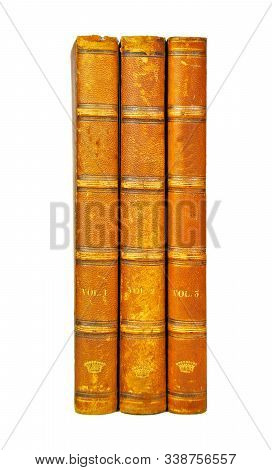 Isolated White Background, Shinny Antique Book Collection Shelf View, piece of Antique Books. stock photo
