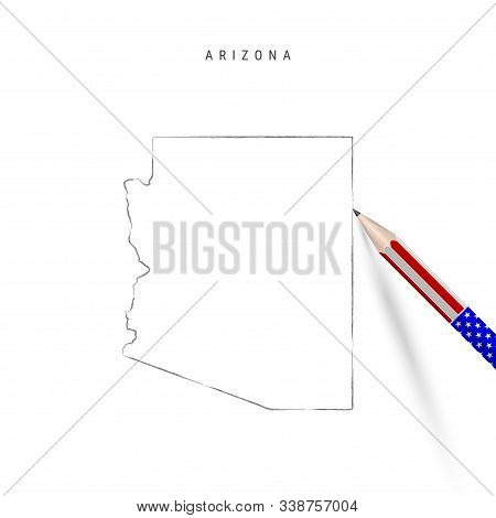 Arizona US state vector map pencil sketch. Arizona outline contour map with 3D pencil in american flag colors. Freehand drawing vector, hand drawn sketch isolated on white. stock photo