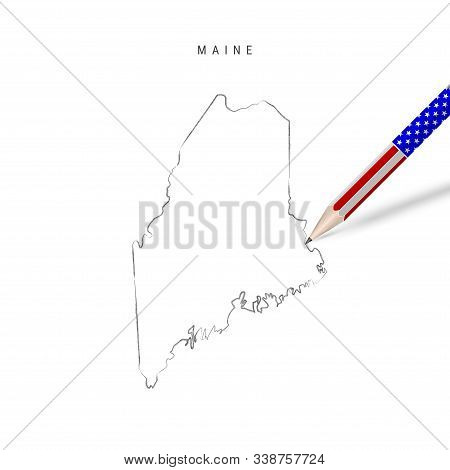 Maine US state vector map pencil sketch. Maine outline contour map with 3D pencil in american flag colors. Freehand drawing vector, hand drawn sketch isolated on white. stock photo