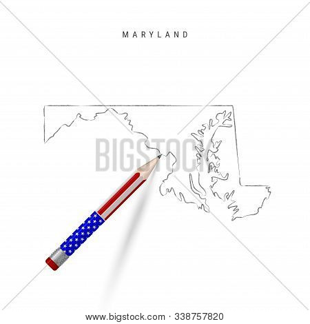 Maryland US state vector map pencil sketch. Maryland outline contour map with 3D pencil in american flag colors. Freehand drawing vector, hand drawn sketch isolated on white. stock photo