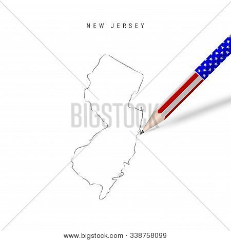 New Jersey US state vector map pencil sketch. New Jersey outline contour map with 3D pencil in american flag colors. Freehand drawing vector, hand drawn sketch isolated on white. stock photo