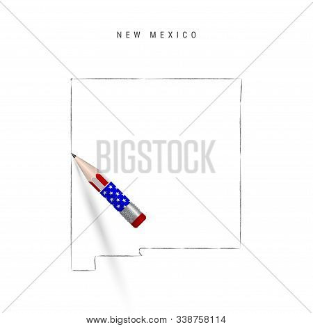 New Mexico US state vector map pencil sketch. New Mexico outline contour map with 3D pencil in american flag colors. Freehand drawing vector, hand drawn sketch isolated on white. stock photo