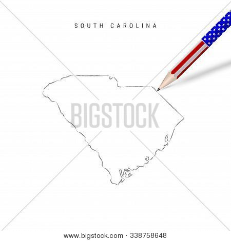 South Carolina US state vector map pencil sketch. South Carolina outline contour map with 3D pencil in american flag colors. Freehand drawing vector, hand drawn sketch isolated on white. stock photo