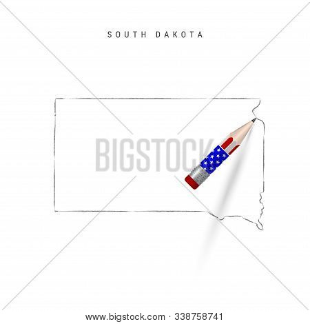 South Dakota US state vector map pencil sketch. South Dakota outline contour map with 3D pencil in american flag colors. Freehand drawing vector, hand drawn sketch isolated on white. stock photo