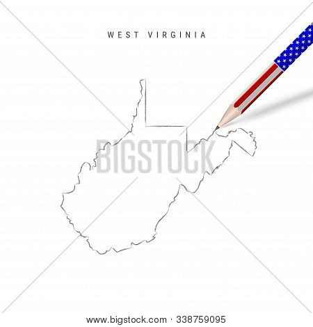 West Virginia US state vector map pencil sketch. West Virginia outline contour map with 3D pencil in american flag colors. Freehand drawing vector, hand drawn sketch isolated on white. stock photo