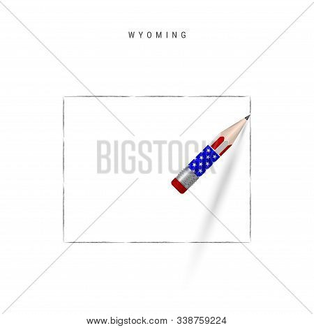 Wyoming US state vector map pencil sketch. Wyoming outline contour map with 3D pencil in american flag colors. Freehand drawing vector, hand drawn sketch isolated on white. stock photo