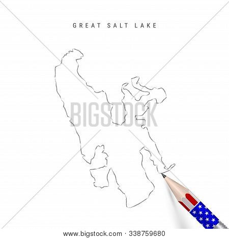 Great Salt Lake vector map pencil sketch. Great Salt Lake outline contour map with 3D pencil in american flag colors. Freehand drawing vector, hand drawn sketch isolated on white. stock photo