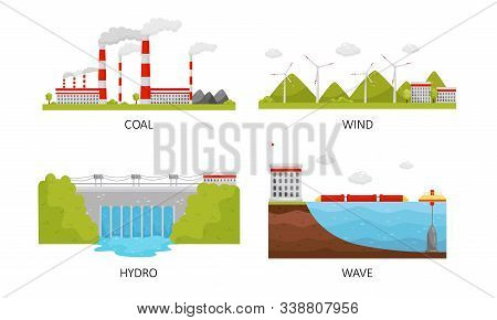 Modern Power Plants Collection, Coal, Wind, Hydro, Wave Industrial Factory Buildings Vector Illustration stock photo