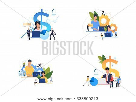 Profit analysis set. Professionals using computers, analyzing financial charts. Flat vector illustrations. Business, finance, accounting concept for banner, website design or landing web page stock photo