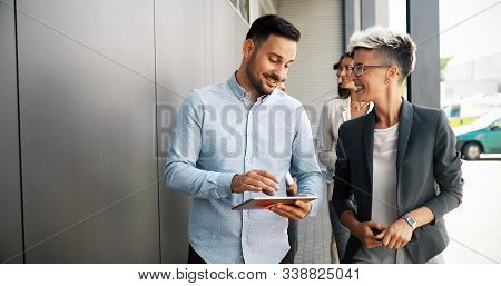 Business people talking nad brainstorming in break outdoor stock photo