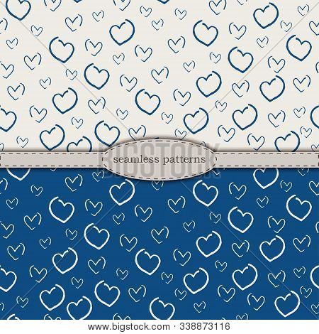 hand-drawn seamless patterns in simplified scandinavian minimalism style. classic blue pantone 2020 and beige bicolor. stock hand drawn vector for printing on fabric, textile, wallpaper, wrapping. stock photo