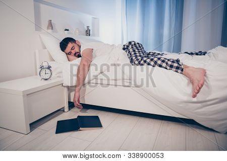 Portrait Of His He Nice Attractive Calm Tired Guy Lying On Bed Fallen Asleep After Difficult Work Da
