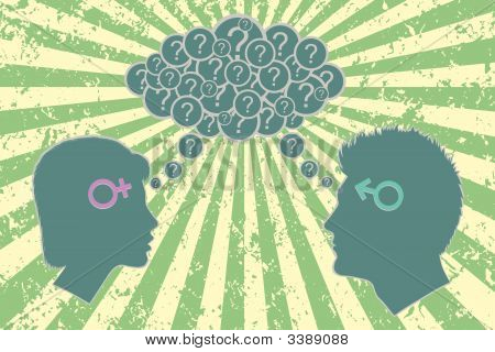 Gender relations concept. Male and female face each other with cloud of questions above them and sun rays background as optimistic metaphor. stock photo
