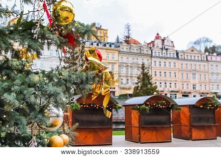Christmas tree in Karlovy Vary, Czech Republic stock photo
