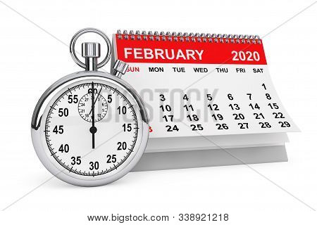 2020 Year February Calendar with Stopwatch on a white background. 3d rendering stock photo
