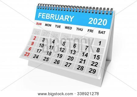 2020 Year February Calendar on a white background. 3d Rendering stock photo
