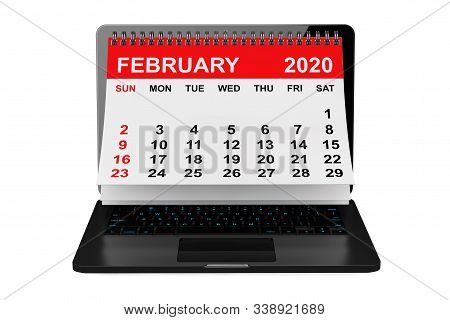 2020 year calendar. February calendar over laptop screen on a white background. 3d rendering stock photo