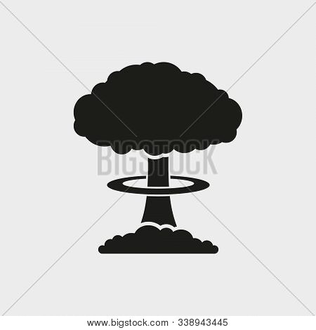Mushroom cloud, nuclear explosion, silhouette. Flat vector web icon. Isolated. stock photo