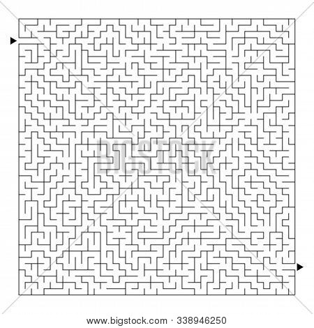 Abstract square maze. Game for kids. Puzzle for children and adult. One entrance, one exit. Labyrinth conundrum. Flat vector illustration isolated on white background stock photo