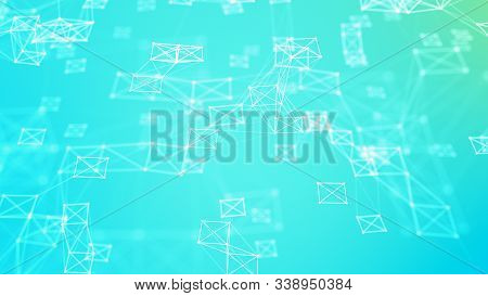 Cybernetic futuristic background. Big data visualization. Technological 3D landscape. Abstract grid illustration. 3D rendering. stock photo