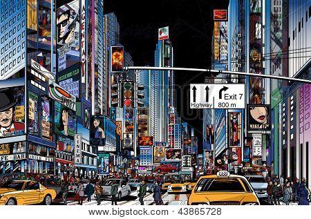 Illustration vectorielle d'une rue à new york city de nuit