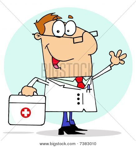Caucasian Cartoon Doctor Man Carrying His First Aid Bag