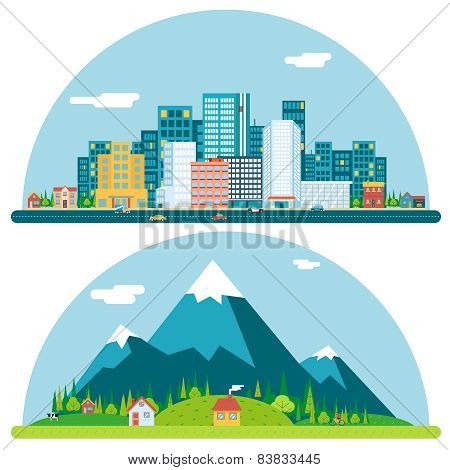 Spring Urban and Countryside Landscape City Village Real Estate Summer Day Background Flat Design Co
