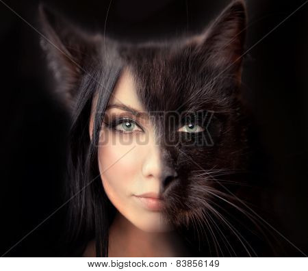 cat woman. Werewolf symbiosis of man and cat. The hidden nature of women walking alone. a symbol of independence. Passion and sexuality danger and desire. stock photo