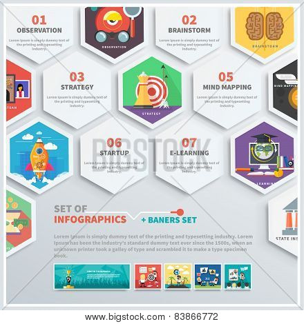 Icons infographic of headwork, strategy planning, business tools start up observation creative team mind mapping brainstorm e-learning time is money. Concept of different icons in flat design stock photo