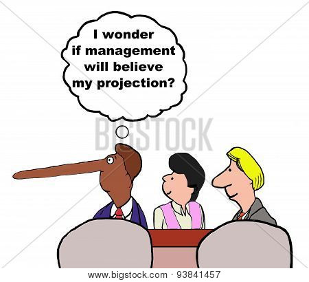 Business cartoon of meeting and a businessman whose nose indicates he has exaggerated his projection.  He is wondering '...if management will believe my projection'. stock photo