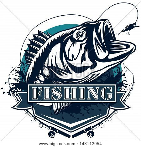 Perch fish and fishing rod logo. Bass fish vector illustration can be used for creating logos and emblems for fishing clubs prints web and other crafts. stock photo