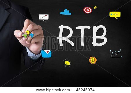 RTB Businessman drawing Landing Page on blurred abstract background stock photo