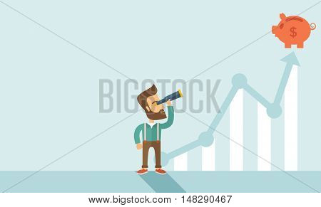 A man standing using telescope to see the graph and piggy bank is on the top of the arrow, it is a s