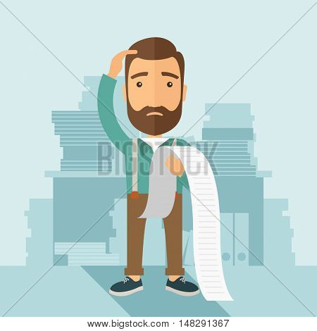 A sad hipster Caucasian man with beard standing holding a paper feels headache and worries about pay