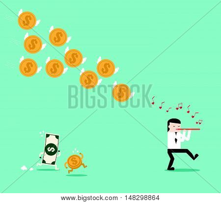 Blown flute call the dollar coin follow businessman. Metaphor story of The Pied Piper of Hamelin. Flat design for business financial marketing banking sale advertisement digital content concept illustration. stock photo