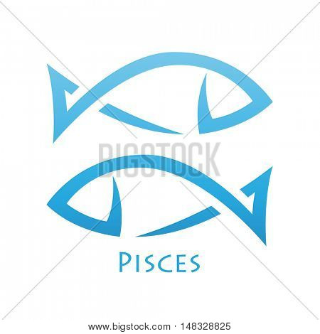 Illustration of Simplistic Lines Pisces Zodiac Star Sign isolated on a white background stock photo