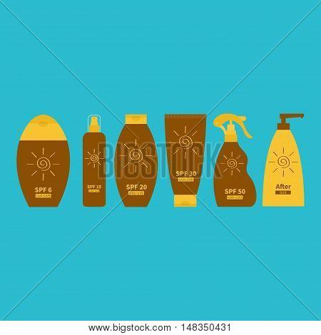 Tube of suntan oil cream. After sun lotion. Bottle set. Solar defence icon. SPF 6 15 20 30 50 sun protection factor. UVA UVB sunscreen. Blue background. Flat design. Vector illustration stock photo