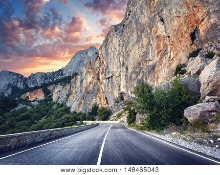 Asphalt Road. Colorful Landscape With Beautiful Mountain Road
