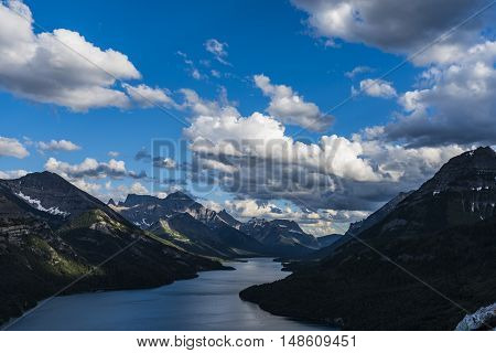 Mountain top views overlooking Waterton Lakes and Townsite Waterton National Park Canada stock photo