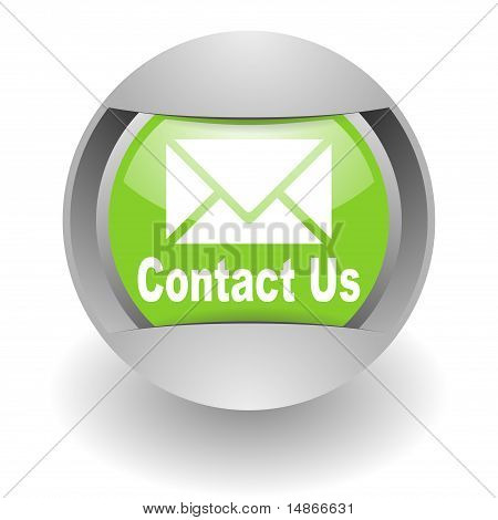 contact us steel green glosssy icon digital illustration isolated over white stock photo