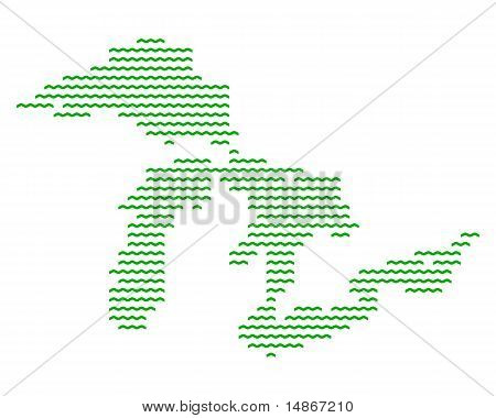 Detailed and accurate illustration of map of Great Lakes stock photo