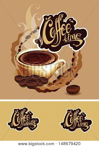 The raster version banner with a cup of coffee. Coffee time logo. -Dishwasher Magnet Skin (size 24x24)