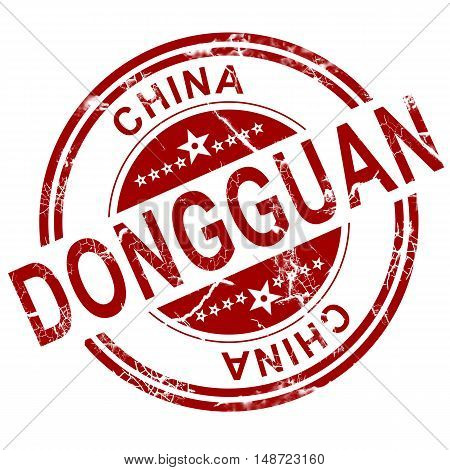 Red Dongguan stamp with white background 3D rendering stock photo