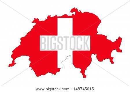 Map Of Switzerland And Flag On White Background stock photo
