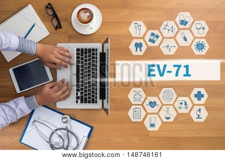 EV-71 Professional doctor use computer and medical equipment all around desktop top view coffee stock photo